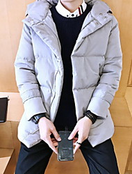 Men's Long Padded Coat,Simple Casual/Daily Solid-Cotton Cotton Long Sleeve Hooded Black / Gray