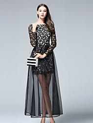 Trapèze Robe Femme Décontracté / Quotidien Sexy,Couleur Pleine Col Arrondi Midi Manches Longues Noir Polyester Automne Taille NormaleNon