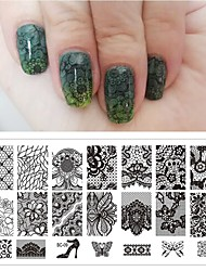 1pcs flor preta do laço 6 * 12 centímetros placas ferramentas selo da arte do prego manicure modelo de unhas