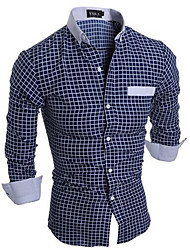 Men's Going out / Casual/Daily Simple Spring Shirt,Check Shirt Collar Long Sleeve Blue / White Cotton Medium