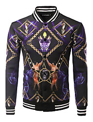 Men's Casual/Daily / Sports Active / Tops JacketsPrint Stand Long Sleeve Fall / Winter Purple Cotton / Polyester