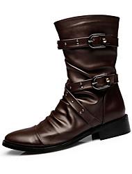 Men's Boots Winter Comfort Cowhide Casual Low Heel Others Black Brown
