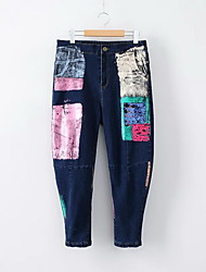Women's Straight Jeans Pants,Casual/Daily Simple Solid Mid Rise Button Polyester Micro-elastic Spring / Fall