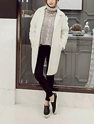 Feminino Longo Casaco Parka,Moda de Rua Bordado Casual-Algodão / Pêlo de Cordeiro Lã Manga Longa Colarinho de Camisa Branco