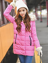 Women's Regular Down Coat,Cute / Street chic / Sophisticated Going out / Casual/Daily / Holiday Solid-Faux Fur / PolyesterWhite Duck Down