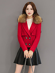 Women's Going out / Casual/Daily Vintage / Street chic / Sophisticated Jackets,Solid Asymmetrical Long Sleeve Fall / WinterBlue / Red /