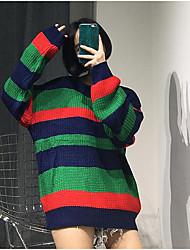 Damen Standard Pullover-Lässig/Alltäglich Einfach Gestreift Weiß Grün Rundhalsausschnitt Langarm Acryl Herbst Winter Mittel