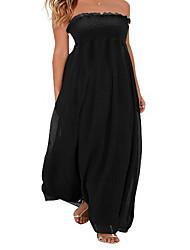 Mousseline de Soie Robe Femme Décontracté / Quotidien simple,Couleur Pleine Sans Bretelles Maxi Sans Manches Multi-couleur Coton Eté