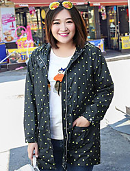 MsShe Women's Plus Size / Casual/Daily Simple Trench CoatPolka Dot Hooded Long Sleeve Fall Blue Polyester Medium