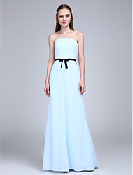 2017 Lanting Bride® Floor-length Chiffon Bridesmaid Dress - Strapless with Bow(s)