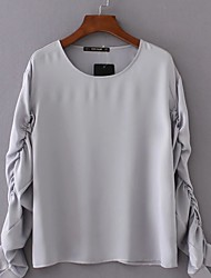 Women's Going out / Casual/Daily Simple / Cute All Seasons Blouse,Solid Round Neck Long Sleeve White Cotton Medium