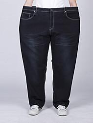 Men's Solid Blue / Black Jeans Pants,Simple All Seasons