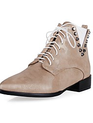 Women's Boots Spring / Fall / Winter Others Leatherette Office & Career / Dress / Casual Low Heel Rivet / Lace-upBlack / Pink / White /