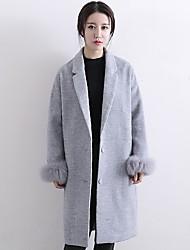 Damen Solide Einfach Lässig/Alltäglich Mantel,Winter V-Ausschnitt Langarm Grau Mittel Wolle / Polyester