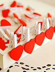 50 Pcs 3cm White/Red Wooden Mini Clip Wood Pegs Kids Crafts Party Favor Supply DIY Wedding Decoration Photo Clips