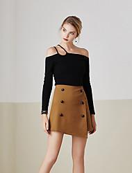 Damen Röcke,Bodycon einfarbigLässig/Alltäglich Einfach Mittlere Hüfthöhe Über dem Knie Elastizität Polyester Micro-elastisch Sommer
