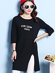 Women's Going out / Beach / Holiday Sexy / Cute / Chinoiserie Loose Dress,Solid Round Neck Midi Long Sleeve White / Black Wool SpringMid