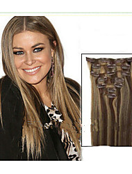 "22"" Clip in Human Hair Extensions 7pcs 70g and Mixed Colour and Blond Colours  For Your Choice"