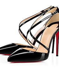 Feminino-Saltos-Sapatos com Bolsa Combinando-Salto Agulha-Preto / Branco / Amêndoa-Couro Envernizado-Casual / Festas & Noite