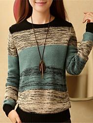 Damen Standard Pullover-Ausgehen Lässig/Alltäglich Einfach Einfarbig Grün Orange Rundhalsausschnitt Langarm Wolle Herbst Winter Dick