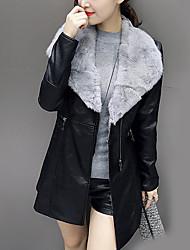 Women's Long Padded CoatSimple / Casual/Daily Print Cotton Polypropylene / PU Long Sleeve Fur Trim
