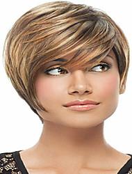 дешевые цены короткий синтетические парики для женщин моды парик с Плутон челки синтетические парики прямые волосы синтетический парик