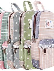 Deli Fresh Pastoral Cloth Lace Canvas Students Large Capacity Pencil Bag