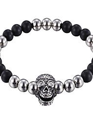 Kalen New Punk Jewelry Stainless Steel Rhinestone Skull Charm Bracelet Black Glass Beads Strand Bracelets Men's Gothic Gifts