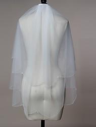 Hochzeitsschleier Zweischichtig Ellbogenlange Schleier / Fingerspitzenlange Schleier Perlenbesetzter Saum / Wellenkante Tüll