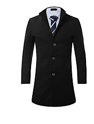 Men's Casual/Daily Simple Coat,Solid Shirt Collar Long Sleeve Fall / Winter Red / Black / Gray / Green Polyester Medium