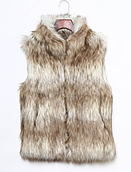 Women's Plus Size / Casual/Daily / Party/Cocktail Sexy / Simple Fur Coat,Color Block Stand Sleeveless Fall /
