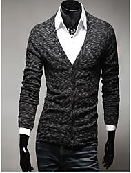 Men's Casual/Daily Simple Regular Cardigan,Solid Black / Green / Orange Round Neck Long Sleeve Rabbit Fur Fall / Winter Medium