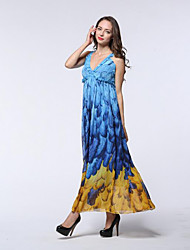 Women's Going out / Beach / Holiday Sexy / Cute / Chinoiserie Sheath Dress,Geometric Round Neck Midi Long Sleeve Blue Polyester SpringMid
