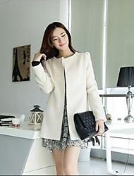 Women's Casual/Daily Simple Coat,Solid Long Sleeve Fall / Winter White Nylon Medium