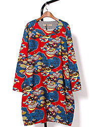 Women's Work / Sports Cute / Chinoiserie Swing Dress,Print Round Neck Above Knee Long Sleeve Multi-color Cotton All Seasons Mid Rise