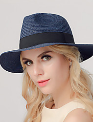 Women Summer Foldable Bow Breathable Outdoor Beach Straw Flat Top Hat