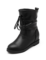 Women's Kitten Heels Solid Round Closed Toe Pull On Boots