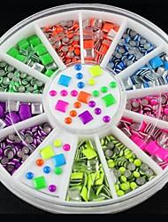 1pcs  Neon Colors Square Round Alloy Nail  Stickers  Fashion Nail