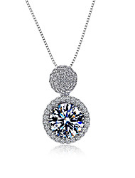 Necklace AAA Cubic Zirconia Pendant Necklaces Jewelry Halloween / Wedding / Party / Daily / Casual Circular DesignSterling Silver / Cubic