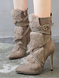Women's Boots Winter Others PU Casual Stiletto Heel Fur Khaki