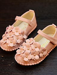 Girls' Flats Spring Fall Comfort Light Up Shoes PU Casual Flat Heel Flower Magic Tape Gold White Blushing Pink