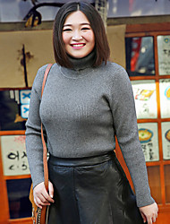 Women's Going out Work Plus Size Vintage Simple Regular Pullover,Solid Black Purple Turtleneck Long Sleeve Polyester Nylon Fall Winter