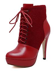 Mujer-Tacón Stiletto Plataforma-Plataforma-Botas-Oficina y Trabajo Vestido Informal-PU-Negro Rojo