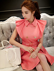 Women's Simple Solid A Line Dress,Shirt Collar Above Knee Polyester