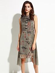 De las mujeres Vaina Vestido Vintage Estampado Asimétrico Escote Chino Seda