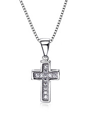 Women's Pendant Necklaces AAA Cubic Zirconia Sterling Silver Cubic Zirconia Cross Euramerican Simple Style Fashion Silver JewelryWedding