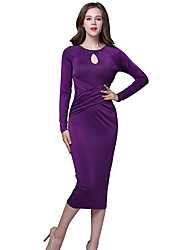 Women's New Style Elegant Solid Round Neck Long Sleeve Slim Rushed Midi Dress