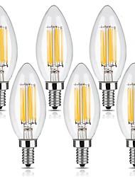 6W E12 Ampoules à Filament LED C35 6 COB 600 lm Blanc Chaud Gradable AC 110-130 V 6 pièces