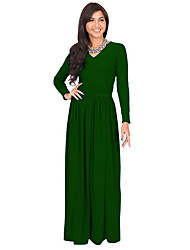 Women's Casual/Daily Solid / Simple Sheath DressSolid Ruched Pleated Plus Size Slim V Neck Maxi Long Sleeve  Spring / Fall