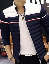 Masculino Padrão Casaco Acolchoado,Simples Sólido Casual Tamanhos Grandes-Fibra Sintética Algodão Manga Longa Colarinho Chinês